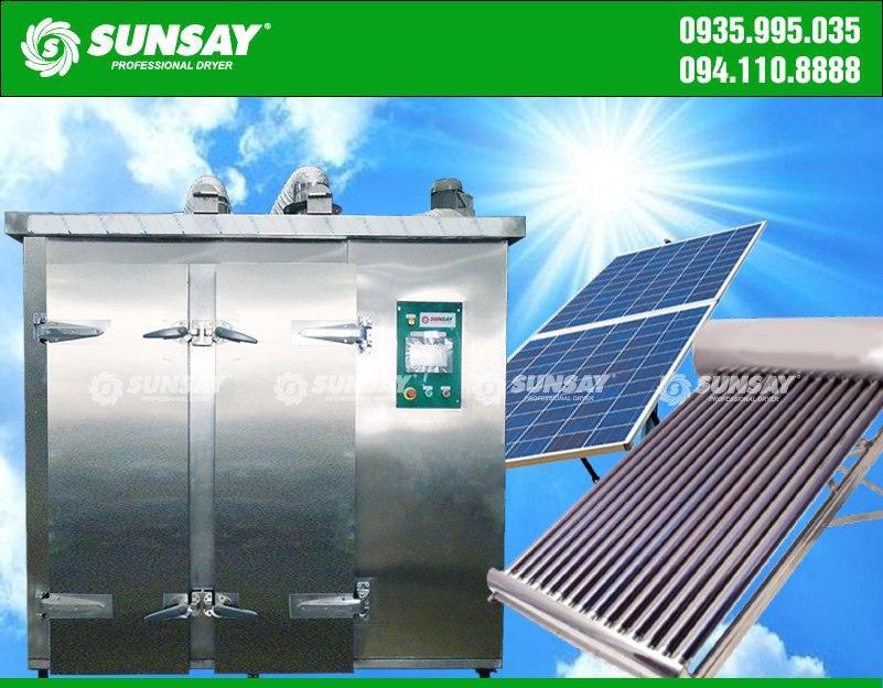 Máy sấy công nghiệp gia nhiệt bằng nước nóng và sử dụng điện mặt trời